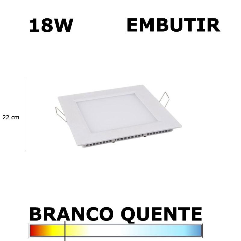 PAINEL PLAFON LED 18W 22CM EMBUTIR QUADRADO 3000K