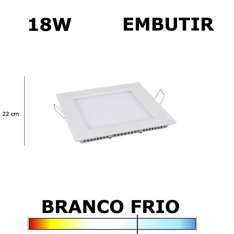 PAINEL PLAFON LED 18W 22CM EMBUTIR QUADRADO 6000K