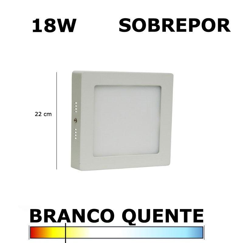 Painel Plafon Led 18W 22CM Sobrepor Quadrado 3000K Bella DL099WW