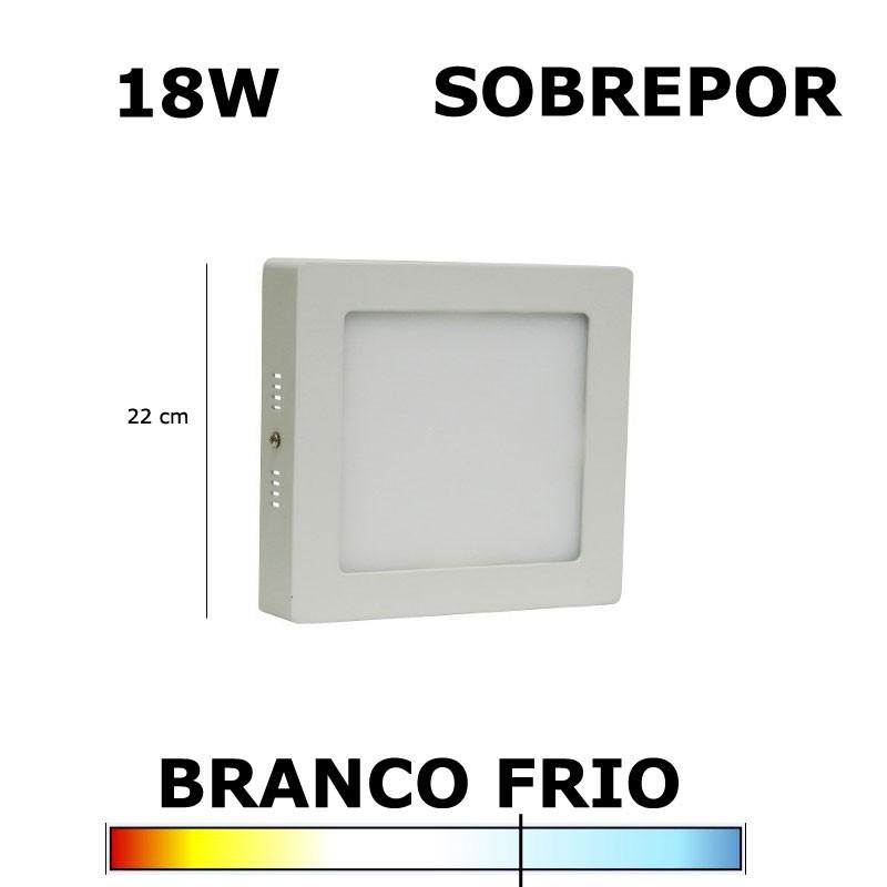PAINEL PLAFON LED 18W 22CM SOBREPOR QUADRADO 6000K
