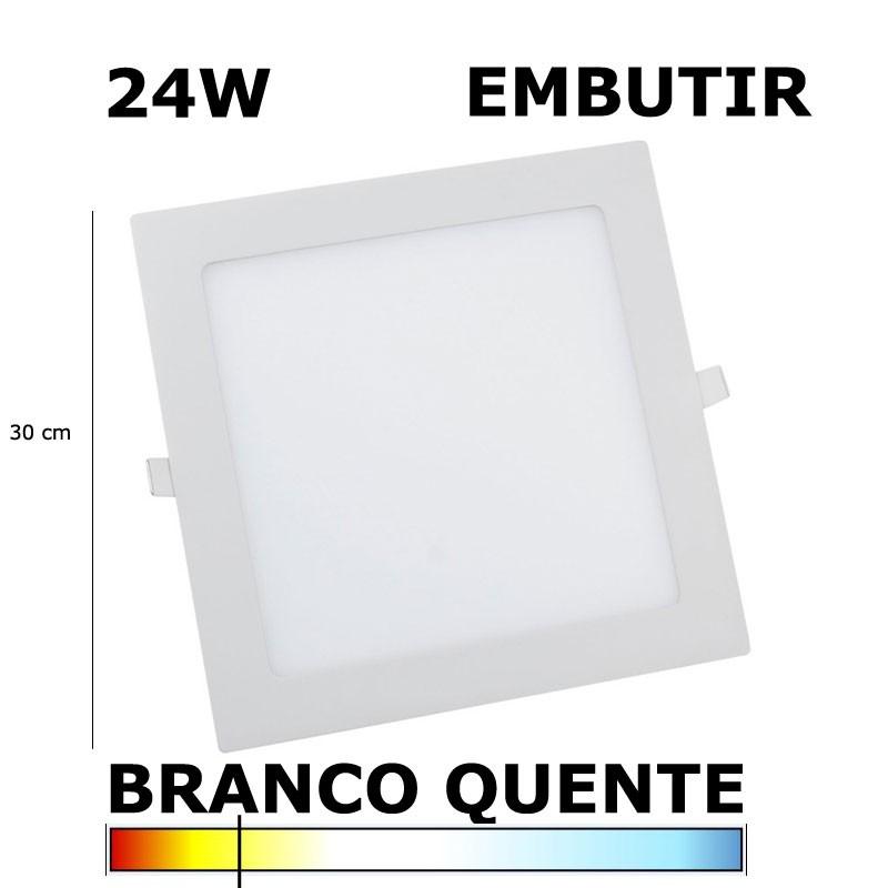 Painel Plafon LED 24W 30cm Embutir Quadrado 3000K