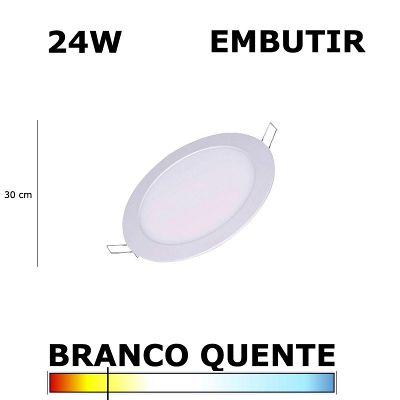 PAINEL PLAFON LED 24W 30CM EMBUTIR REDONDO 3000K
