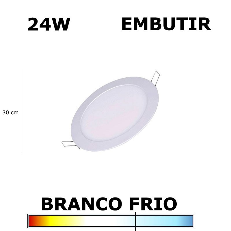 PAINEL PLAFON LED 24W 30CM EMBUTIR REDONDO 6000K