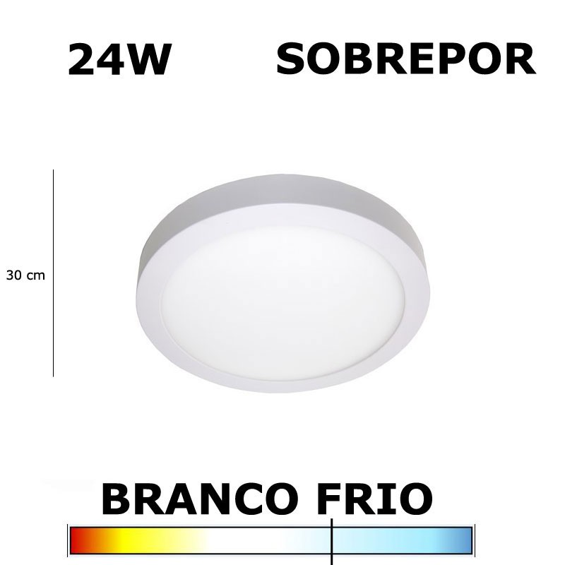 PAINEL PLAFON LED 24W 30CM SOBREPOR REDONDO 6000K