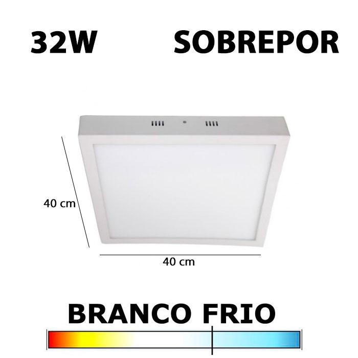 PAINEL PLAFON LED 32W 40CM SOBREPOR QUADRADO 6000K