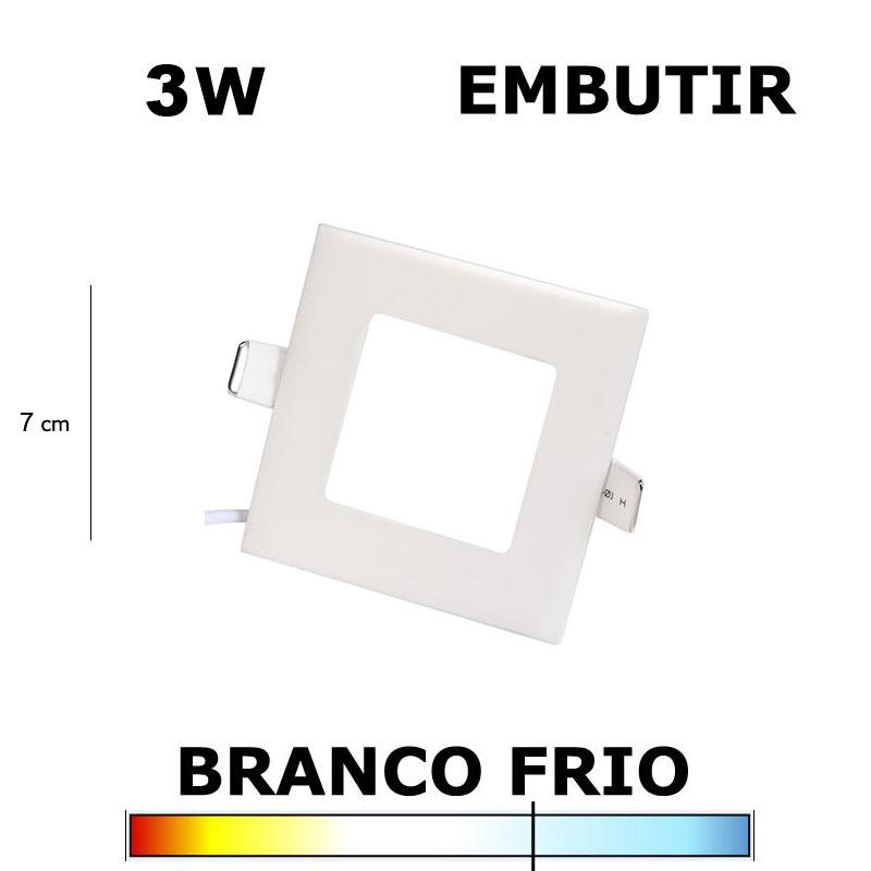 PAINEL PLAFON LED 3W 7CM EMBUTIR QUADRADO 6500K