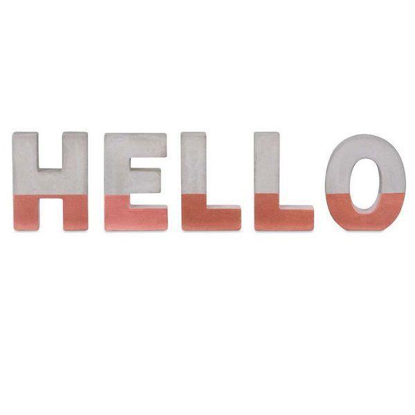Palavra Hello Cimento Decorativo 45x11,5CM 09456