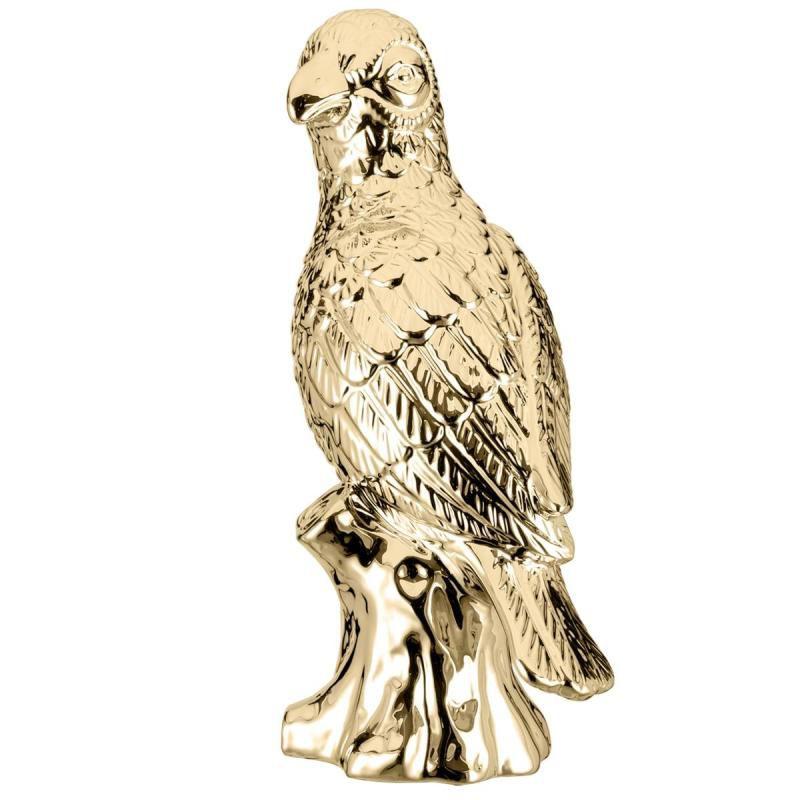 Papagaio Decorativo Cerâmica Dourada 28CM 08647 Mart