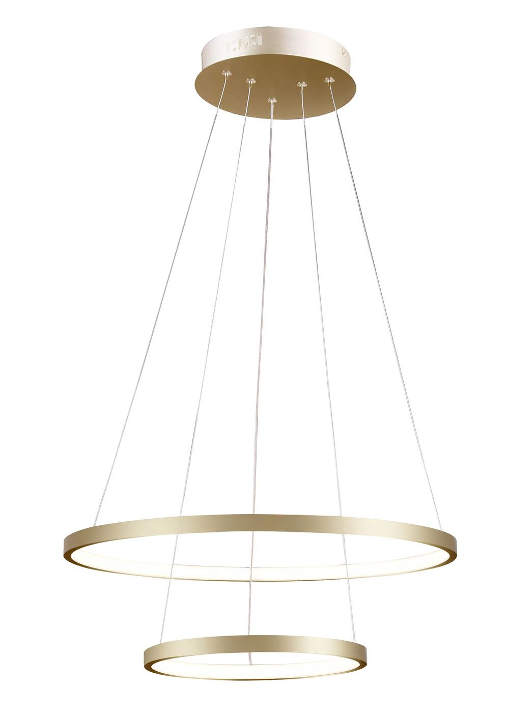 Pendente 2 Anéis Rings Metal Dourado 50CM LED 20W+15W 3000K Branco Quente QPD1301-DO