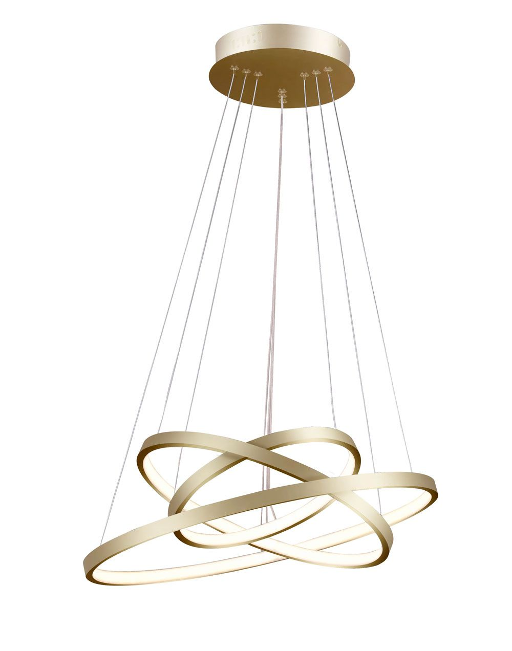 Pendente 3 Anéis Rings Metal Dourado 60cm LED 89W Bivolt 3000K Branco Quente QPD1303-DO