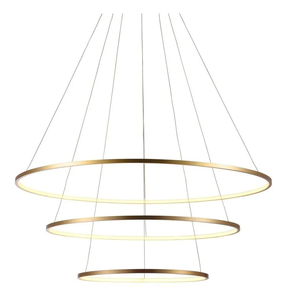 Pendente 3 Aneis Rings Metal Dourado Fosco Led 90W 3000K 80CM 60CM 40CM Bivolt