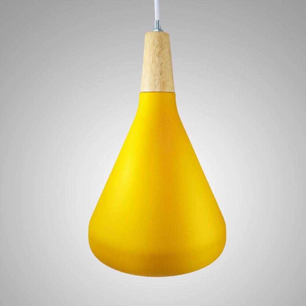Pendente Alumínio Amarelo Fosco e Branco Interno 18x20cm 1E27