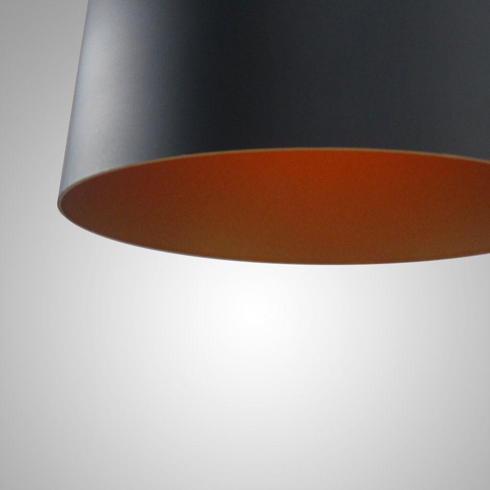 Pendente Alumínio Preto e Dourado com detalhe em Madeira 19x40cm 1E27