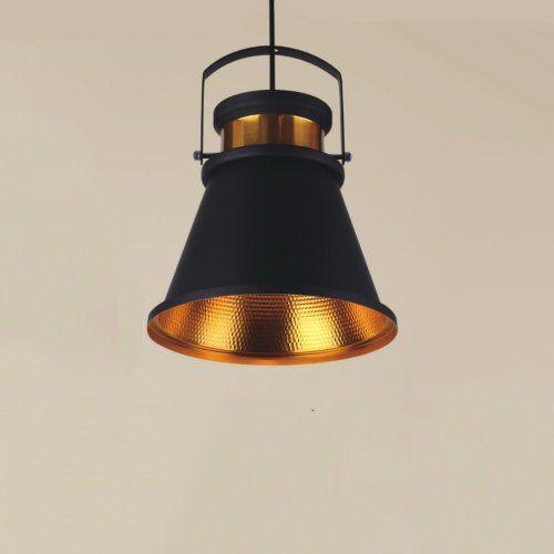 Pendente Alumínio Preto Fosco e Dourado Interno 26x35cm 1E27