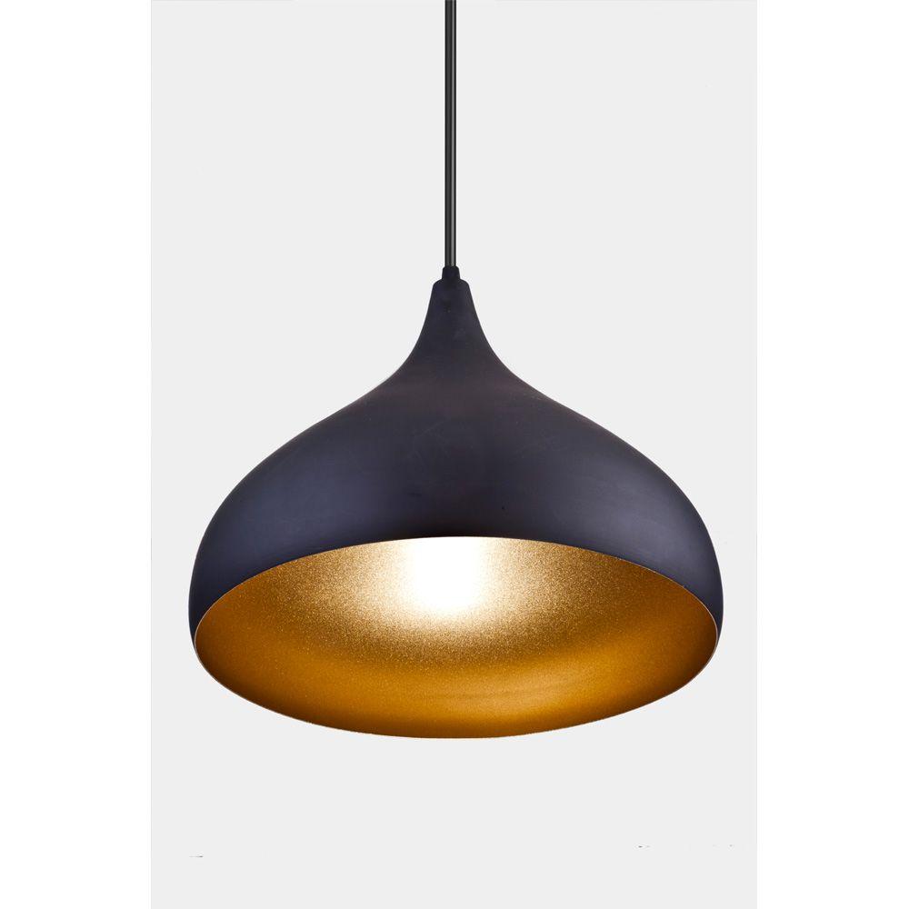 Pendente Alumínio Preto Fosco e Dourado Interno Chapéu 32x30cm 1E27