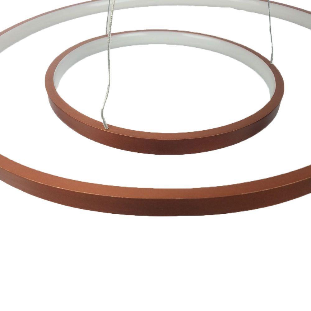 Pendente 2 Anéis Metal Cobre 50CM LED 35W 3000K Luz Amarela QPD1301-CO