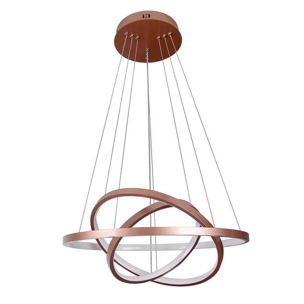 Pendente 3 Anéis Rings Metal Cobre 60cm 50cm 40CM LED 89W Bivolt 3000K Branco Quente QPD1303-CO