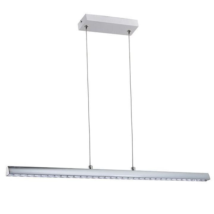 Pendente Barra Cristal/Metal Cromado Com LED 12W 4000K 62cm QPD1278-CR
