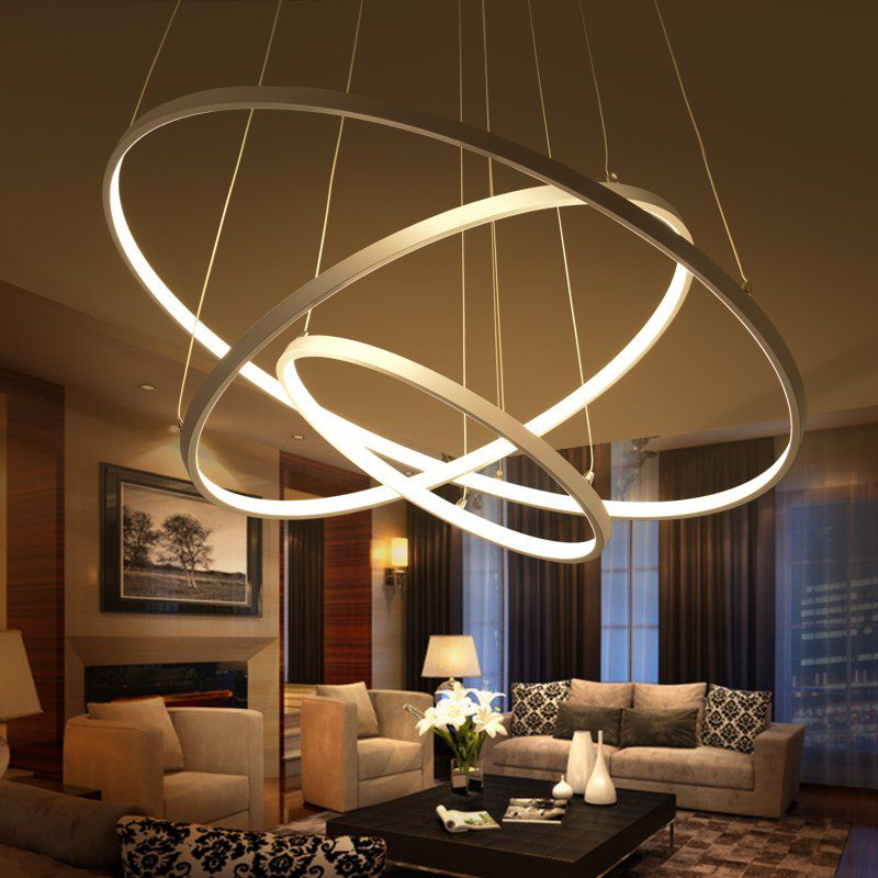 Kitchen Ceiling Lights Singapore: Pendente Rings Birdie Anéis Branco 80cm LED 3000K 39W