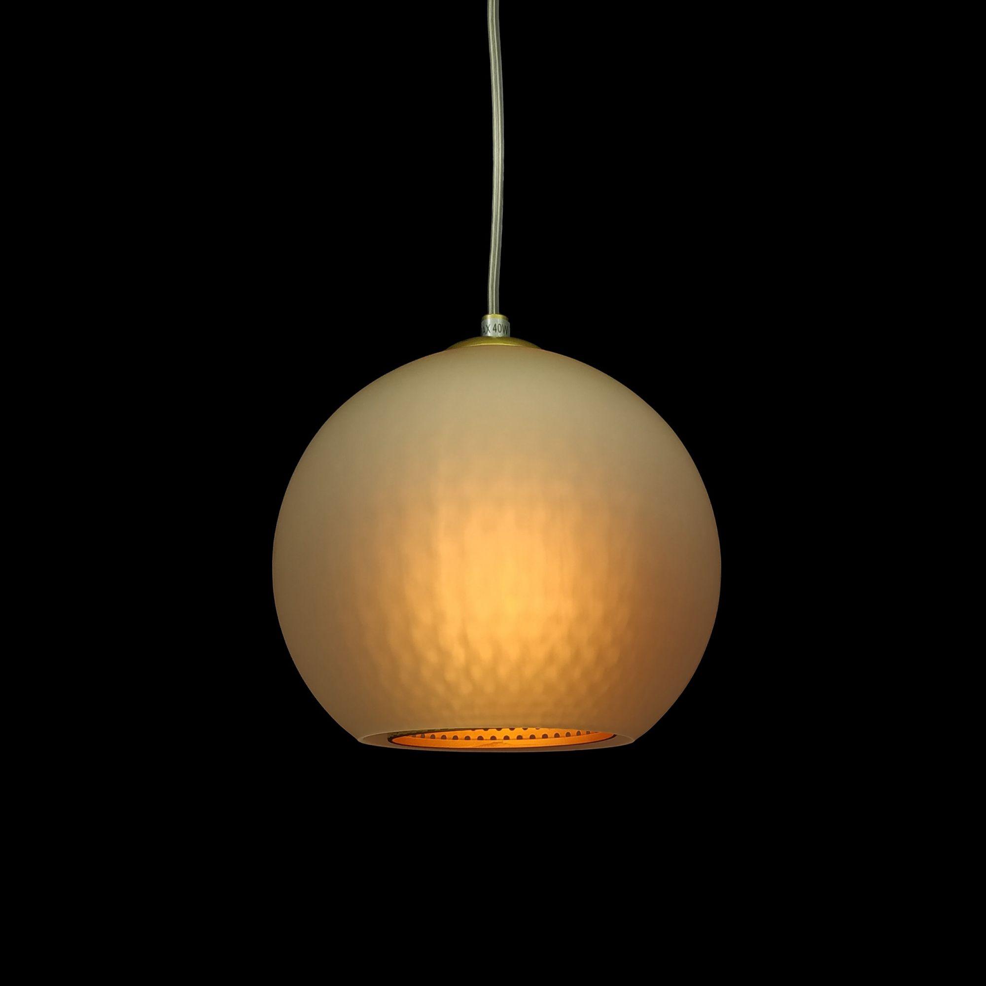 Pendente Bola Metal Dourado e Vidro Transparente 1E27 20X20CM 7378 Mart