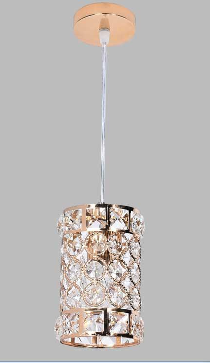 Pendente Cristal Dourado 1E14 9x15cm