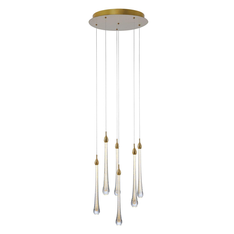 Pendente Cristal Goccia 41cm LED 6x2W Dourado OC002L Bella