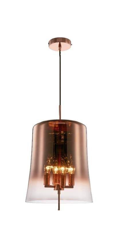 Pendente Hive Metal Vidro Cobre 32x50cm 4E14 PD1046  New Line