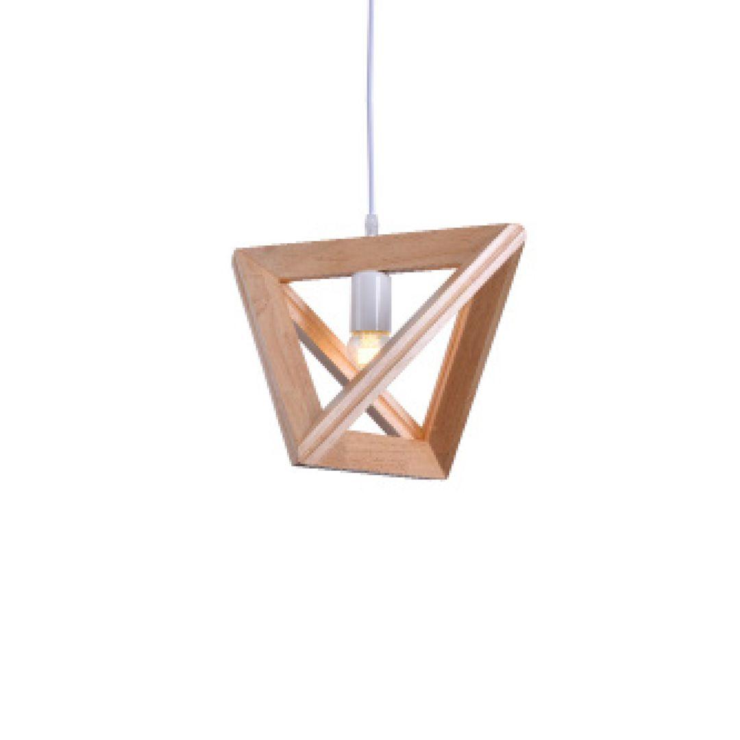Pendente Madeira Triangulo 1E27 39x32CM Bivolt