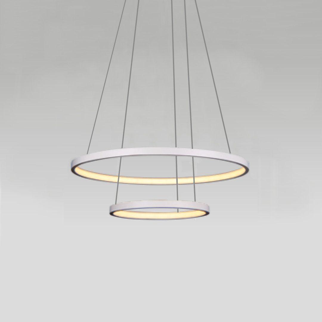 Pendente Anéis em Metal Branco 50CM LED 20W+15W 3000K Branco Quente QPD1301-BR