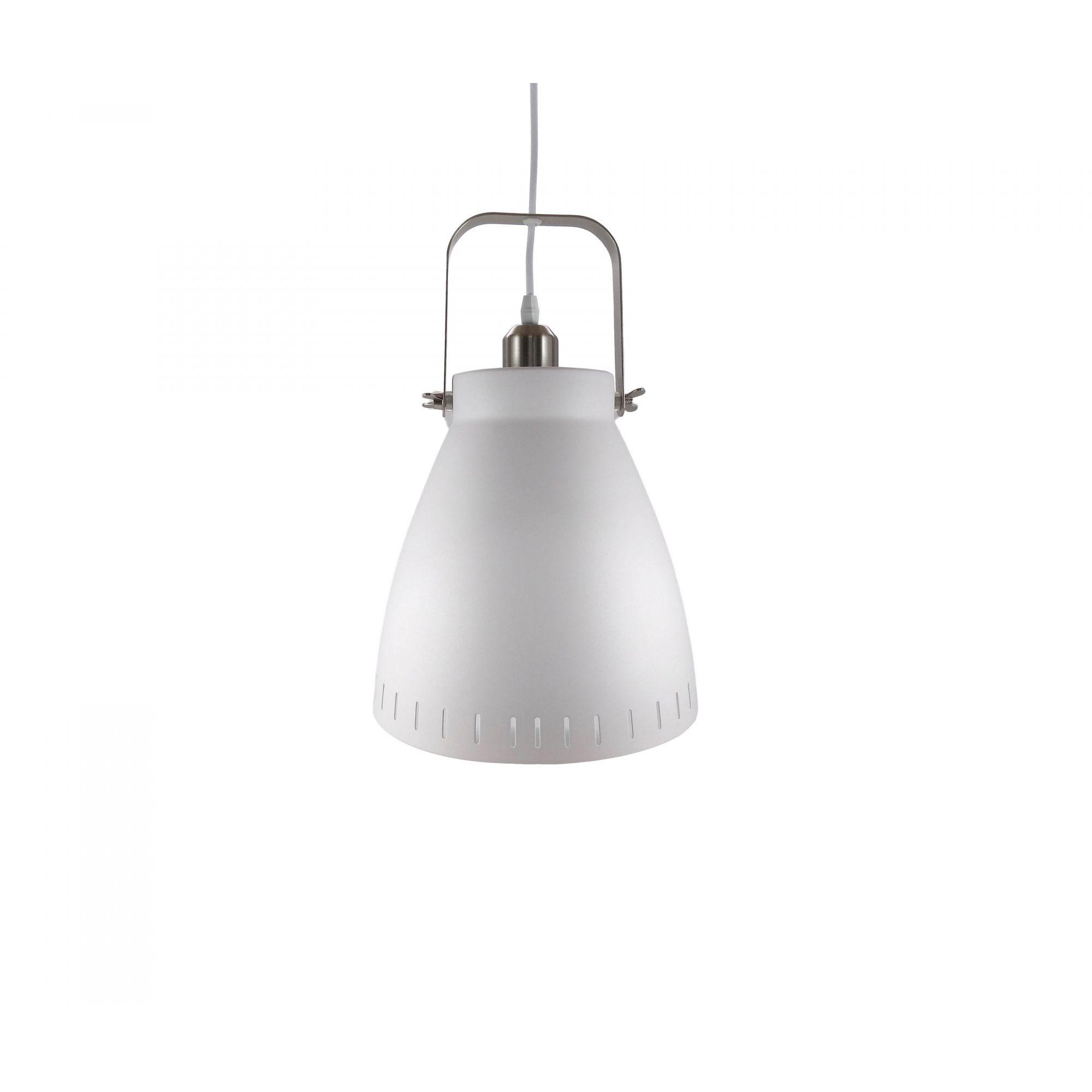 Pendente Metal Branco/Cromado 1E27 17X23CM QPD1158-BR