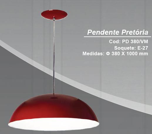 PENDENTE PRETORIA VERMELHO 1E27 KIN PD380/VM