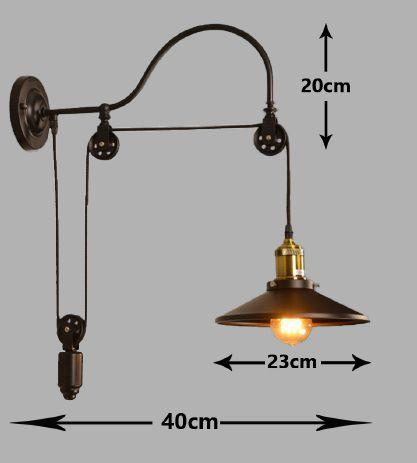 Pendente Retro Industrial Com Peso E27 Preta Detalhes Bronze
