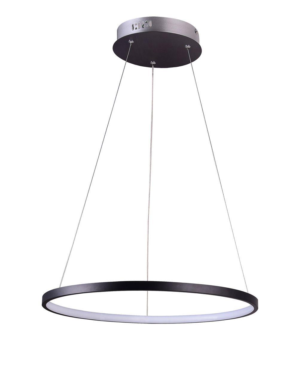 Pendente Rings Anel em Metal Preto 40CM LED 20W Bivolt 3000K Branco quente QPD1300-PT