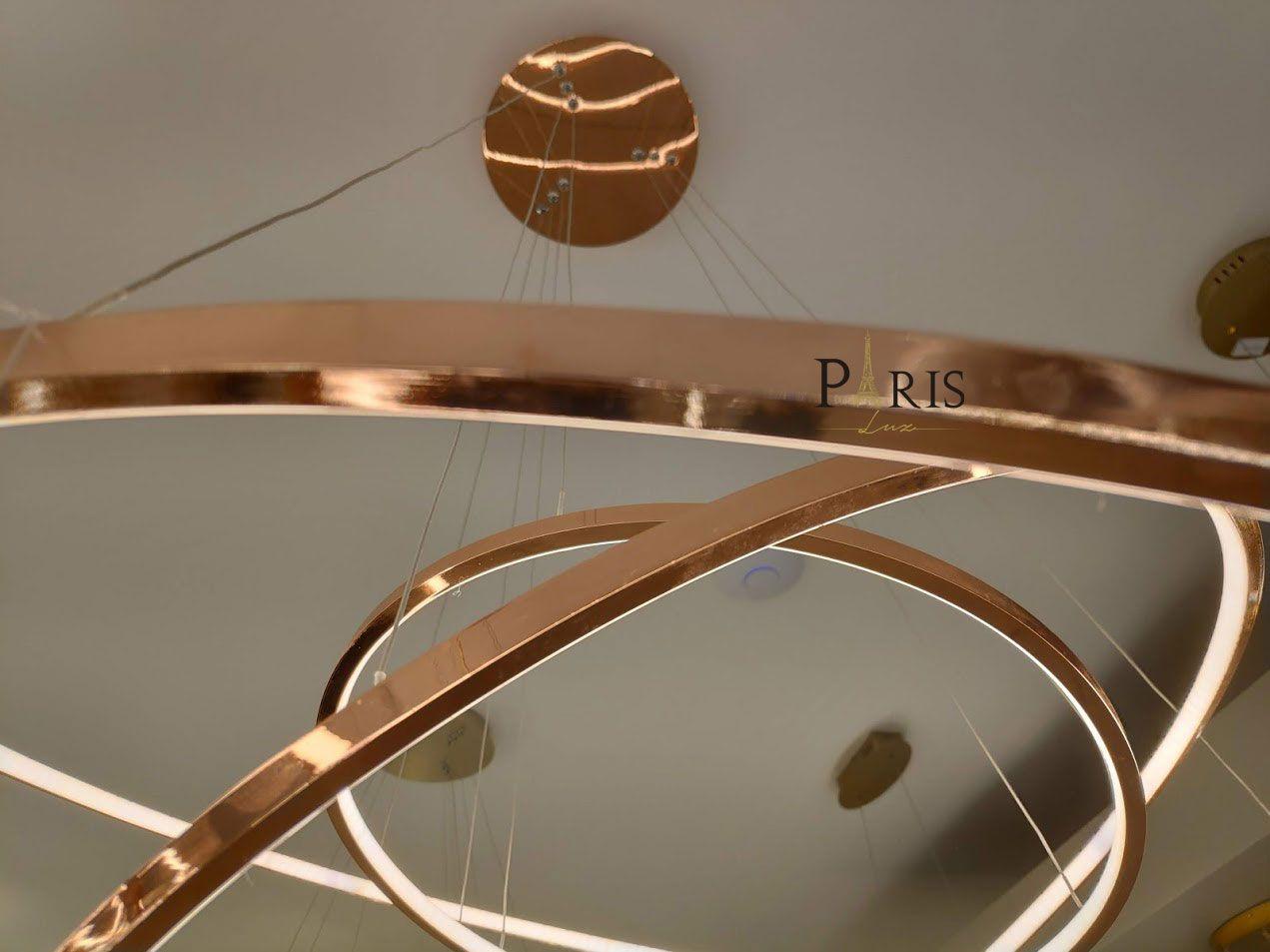 Pendente Rings Birdie Anéis Rosê Gold Cobre 80cm Led 3200K 39W KW002E Bella