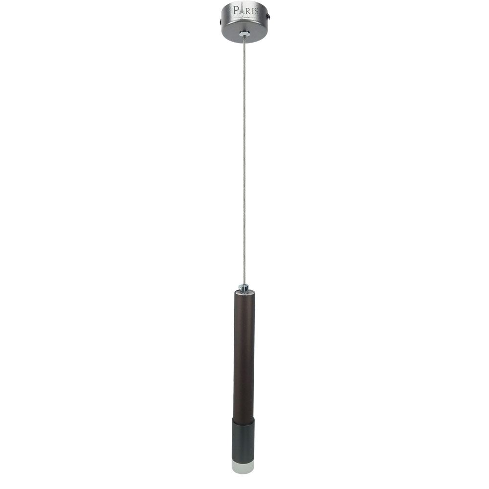 Pendente Tubo 27cm Marrom Cinza LED 5W 3000K Bivolt Delis