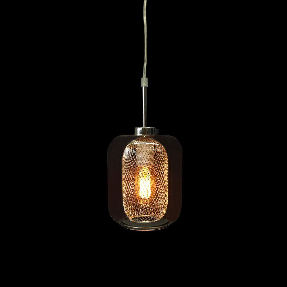 Pendente Vidro Transparente E Metal Cromado 1E27 16,5X36CM 5697 Mart