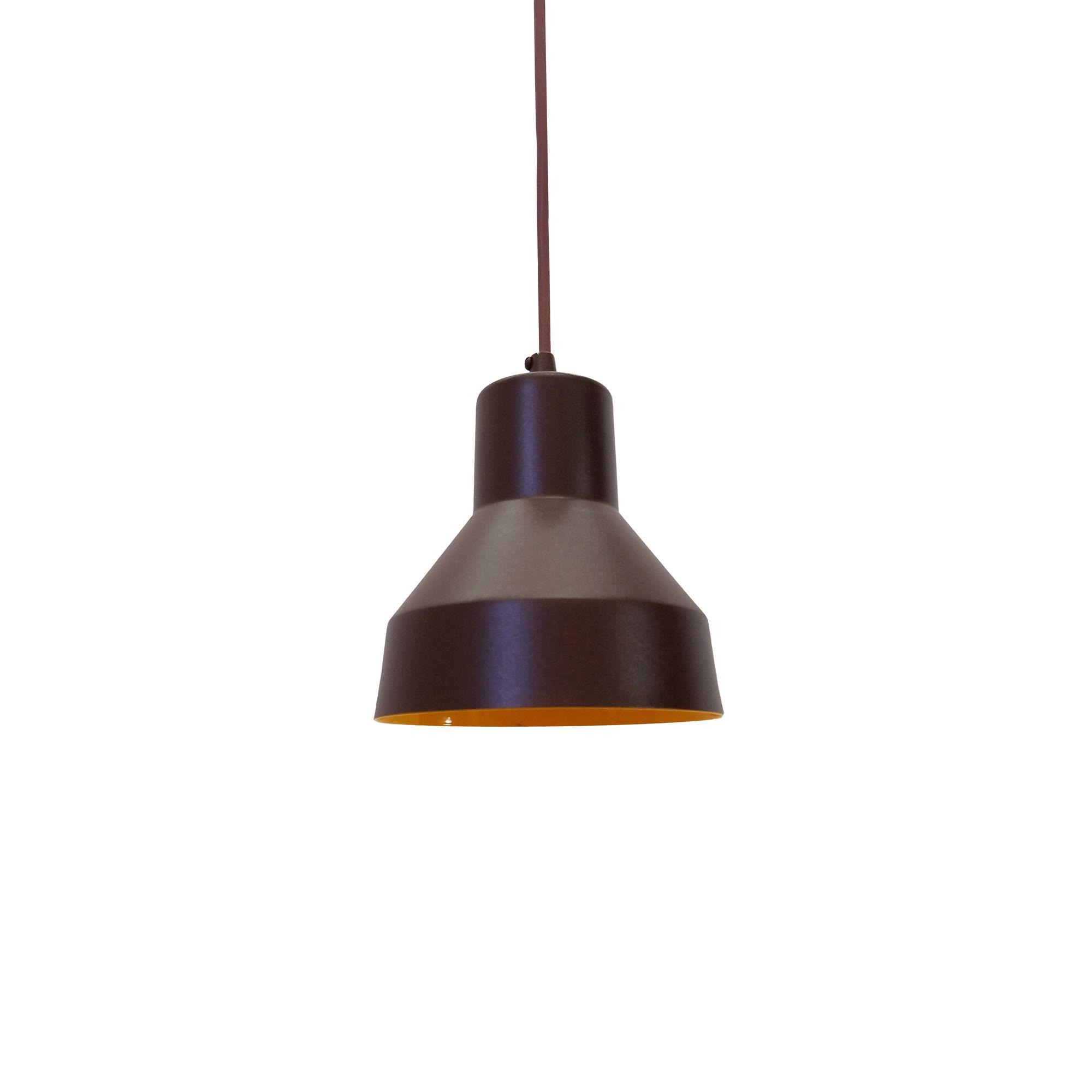 Pendente Viena Aluminio Café/Amarelo 1E27 13x13CM PD130/1CF_AM
