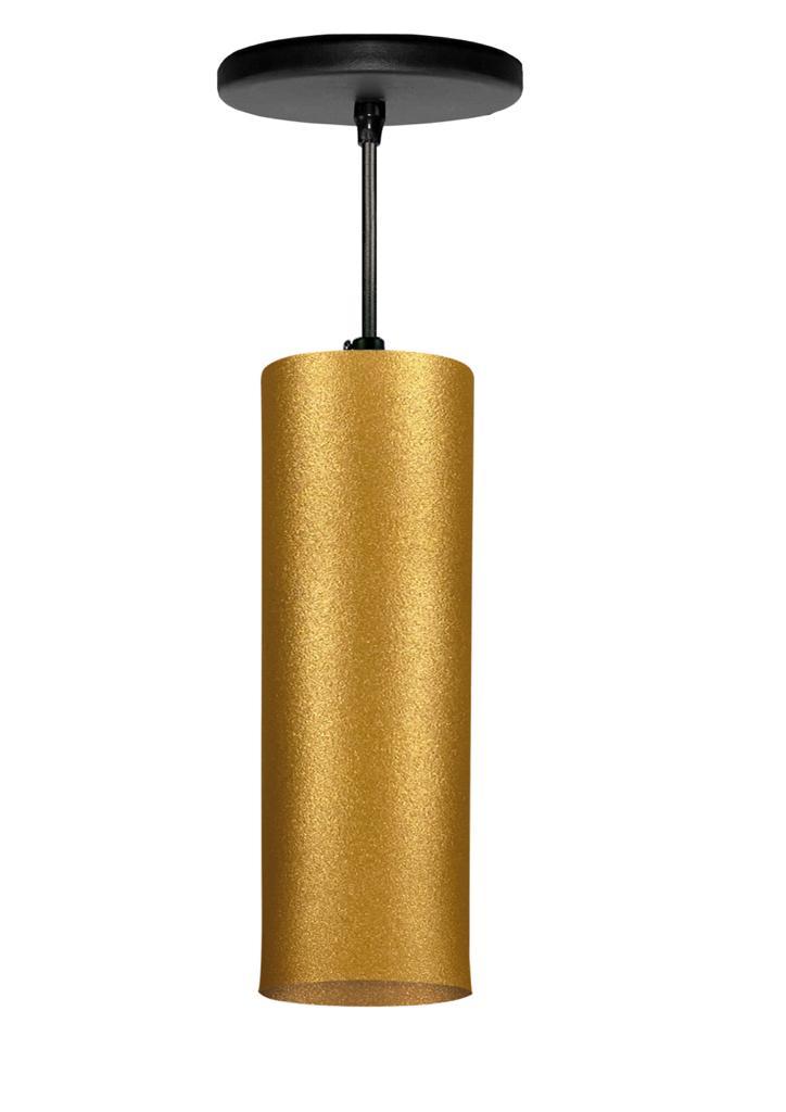 Pendente Viena Tubo Dourado Cabo Em Tecido 8x25CM 9524T