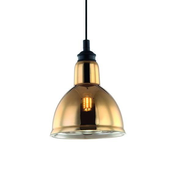 Pendente Zahara Metal Vidro Dourado 15x18cm 1G9 PD1194-DO New Line