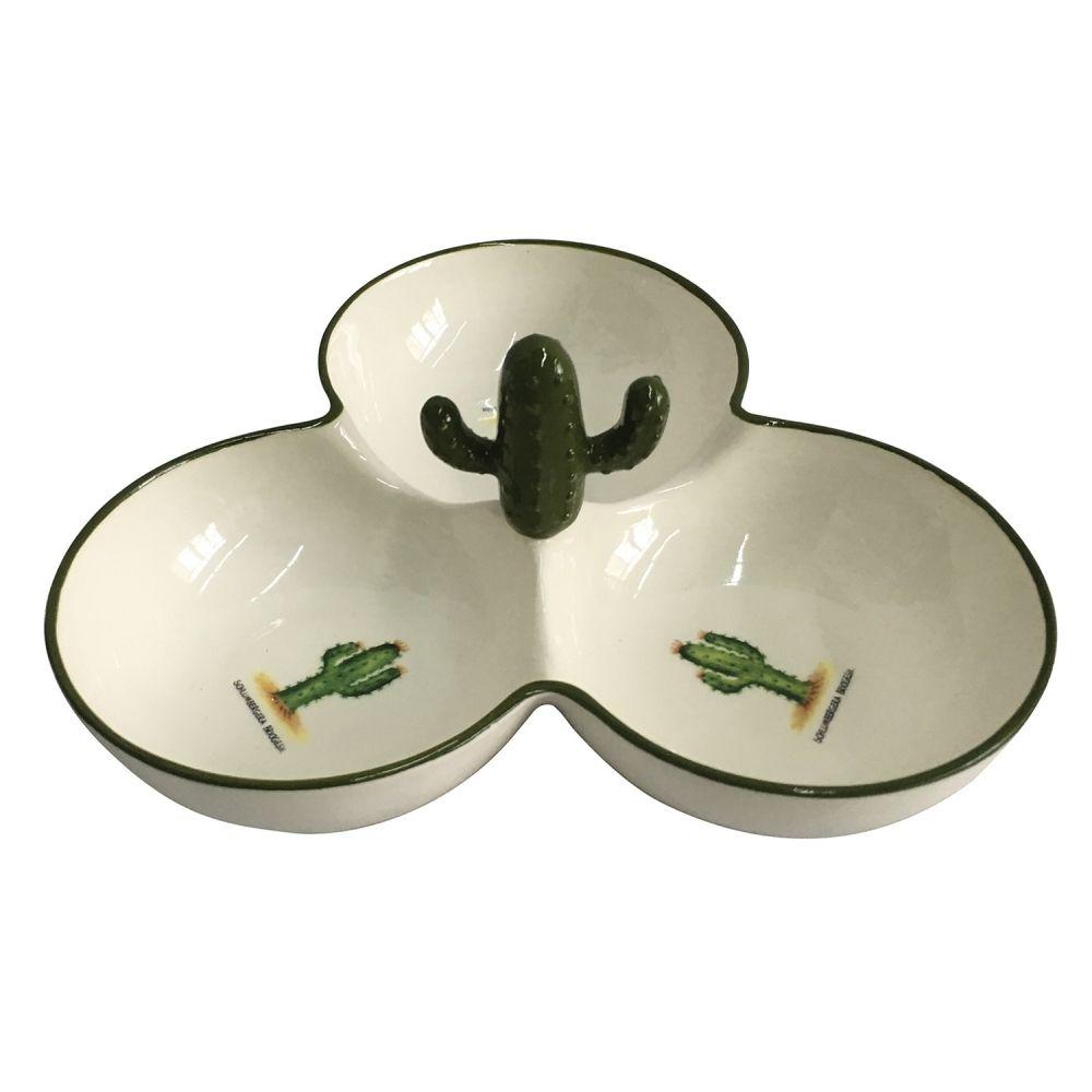 Petisqueira Cerâmica Cacto Branco/Verde 20CM XD0382