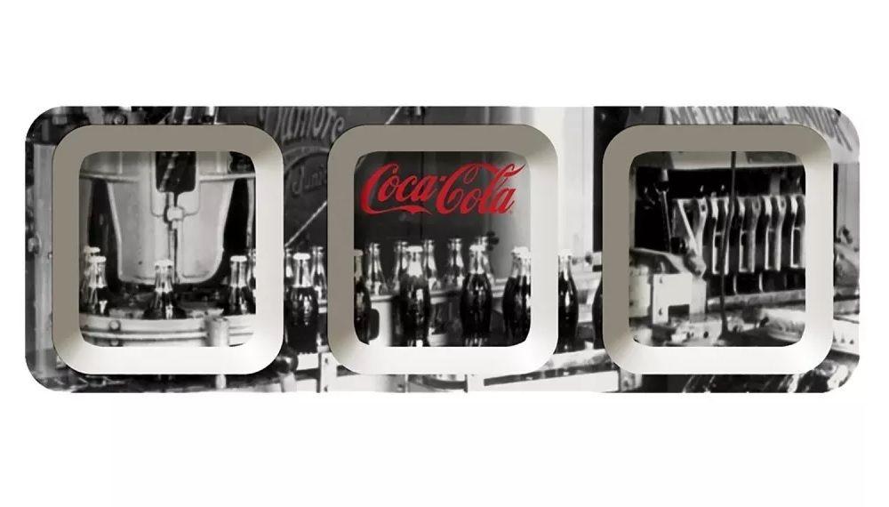 Petisqueira Retangular Coca Cola Fabric Work Preto/Branco 44,5X16,5CM 26157