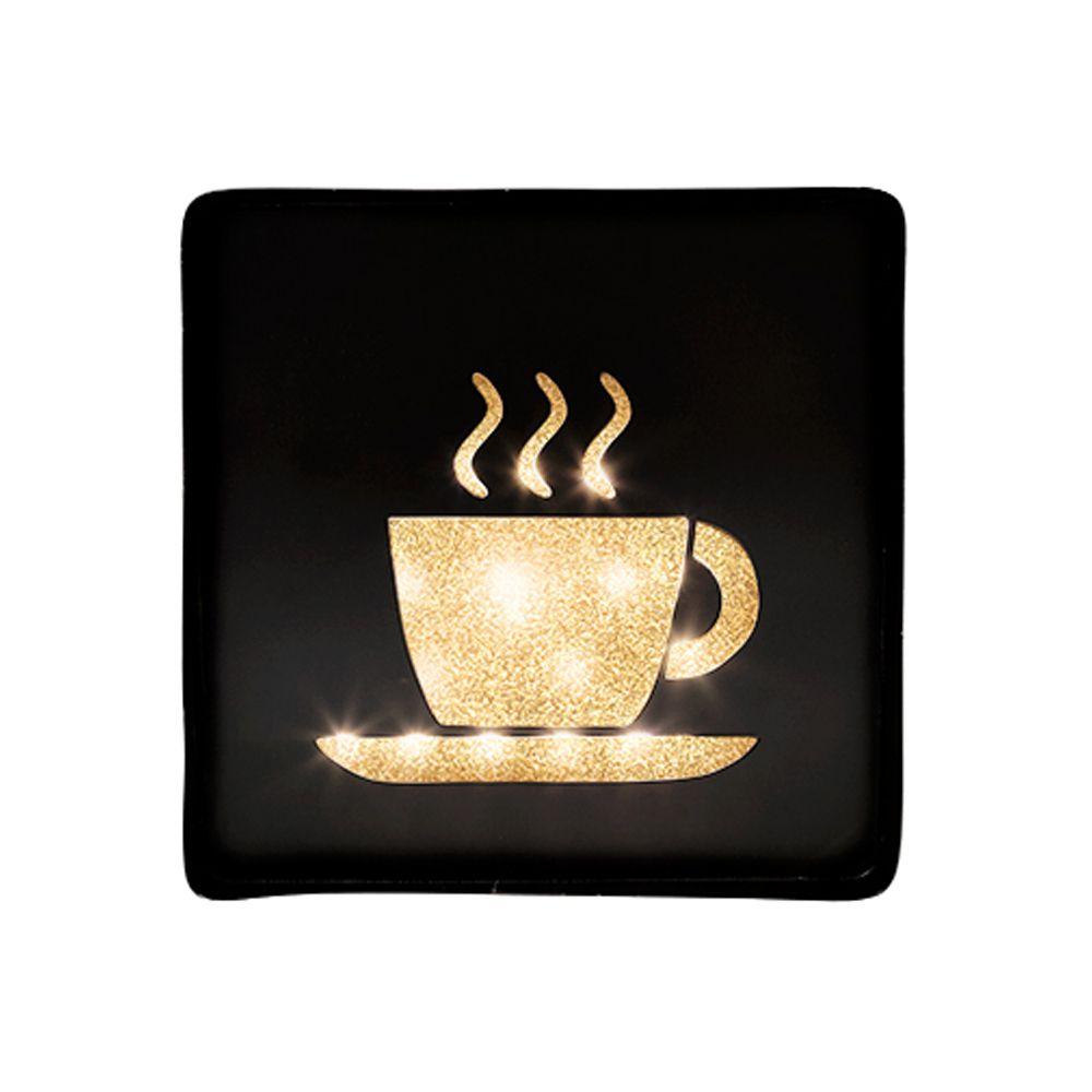 Placa Decorativa Café Metal Preto Com Led 7048 30X30CM Mart Collection