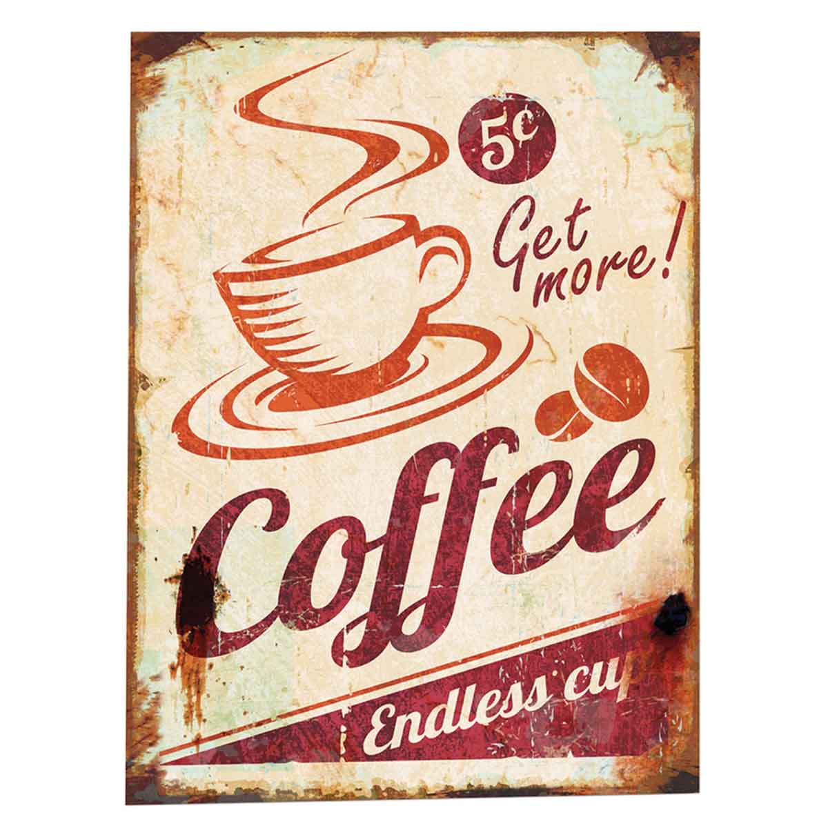 Placa Decorativa Coffee Retro 30x40cm - YA0011
