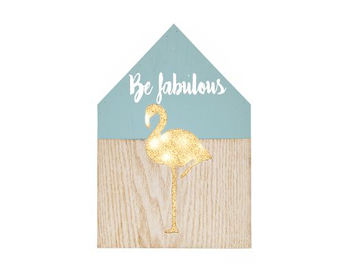 Placa MDF Decorativa Led Flamingo Be Fabulous 22X15CM Mart
