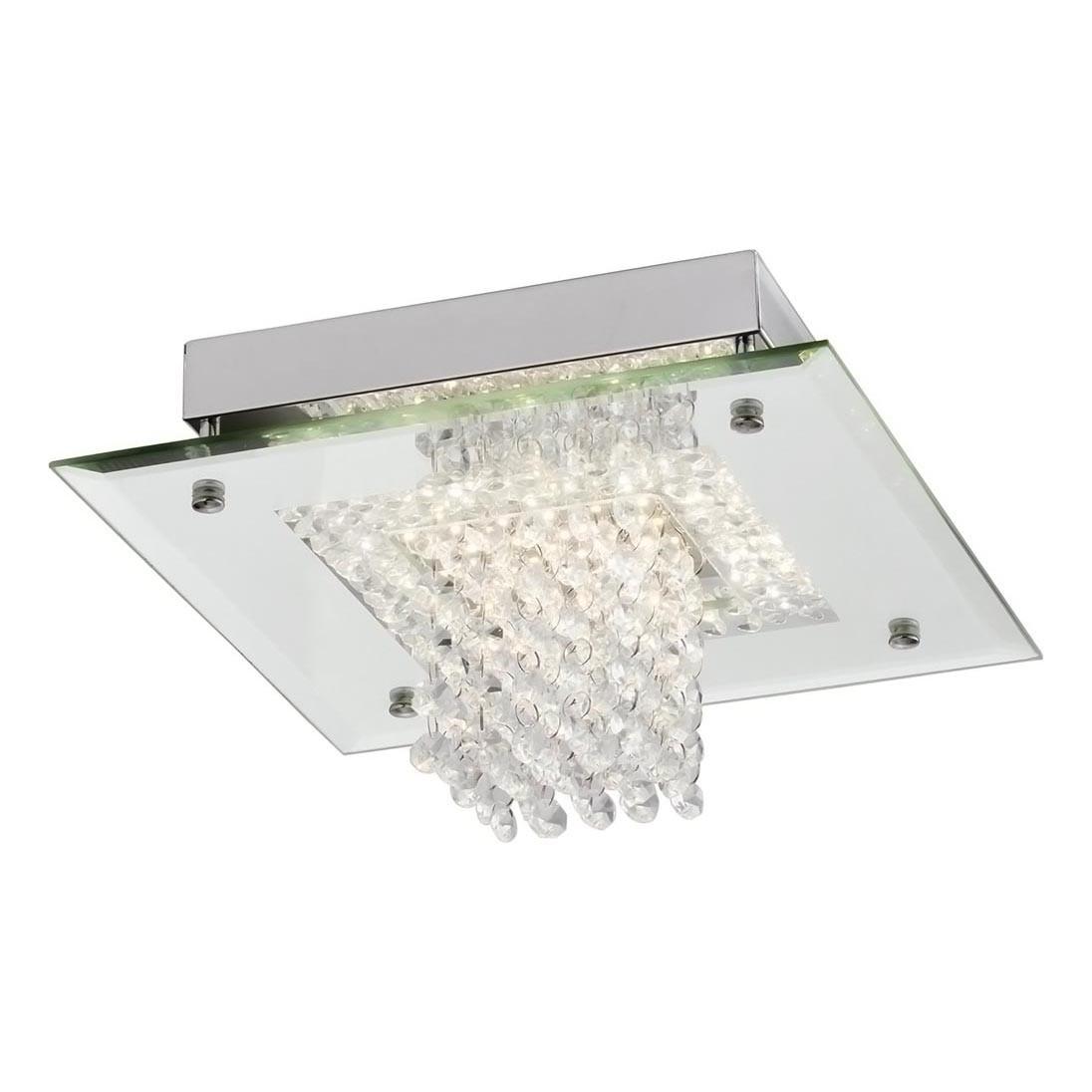 Plafon Cristal Dijon Cromado Sobrepor LED 12W 4000K 28x28cm QPL883