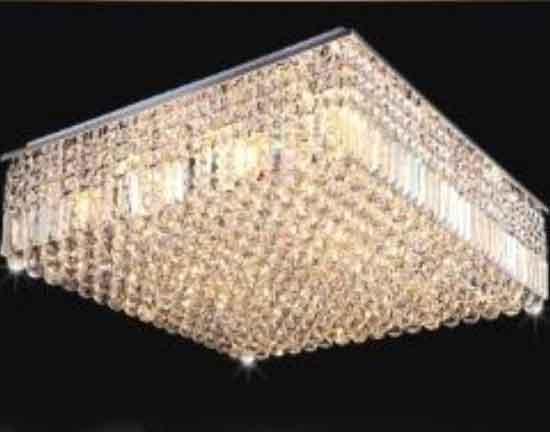 Plafon Cristal Quadrado 40x40cm 5Gu10 MR16