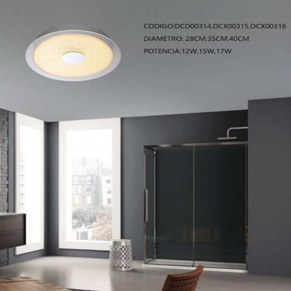 Plafon Cristal Redondo LED 15W 35CM 3000K Bivolt