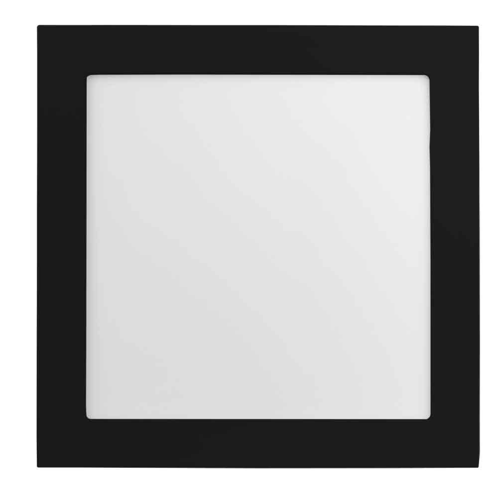 Plafon Led Embutir 12W 3000K Luz Amarela Quadrado Preto 17cm Save Energy