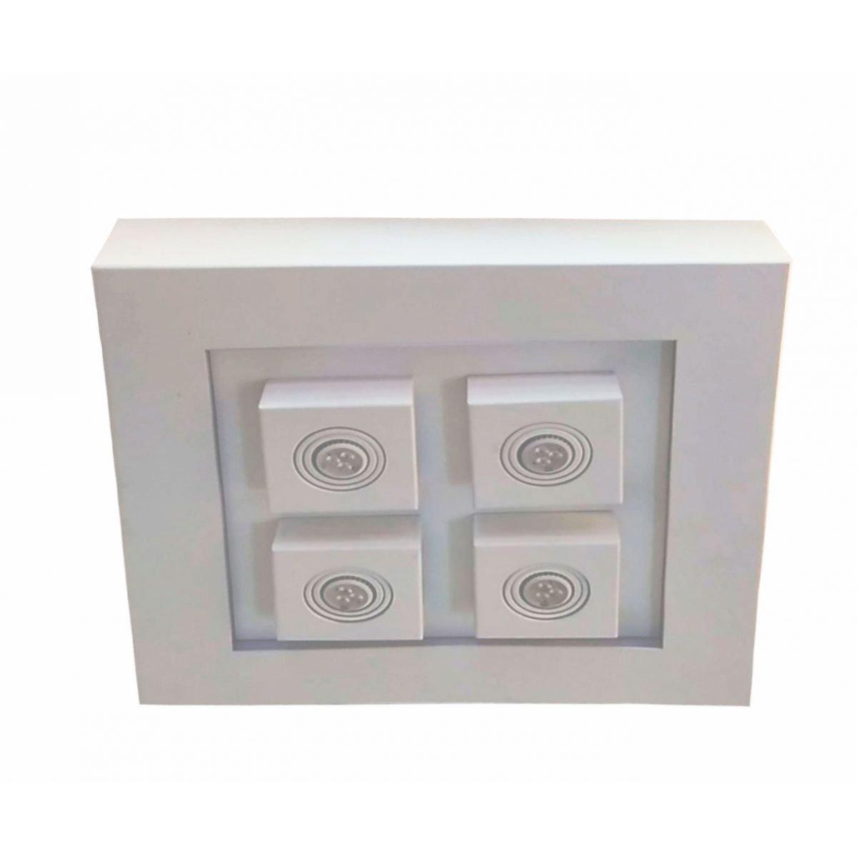 Plafon Luz Indireta Sobrepor Branco 8E27 + 4GU10 50X50CM 4110 Piuluce