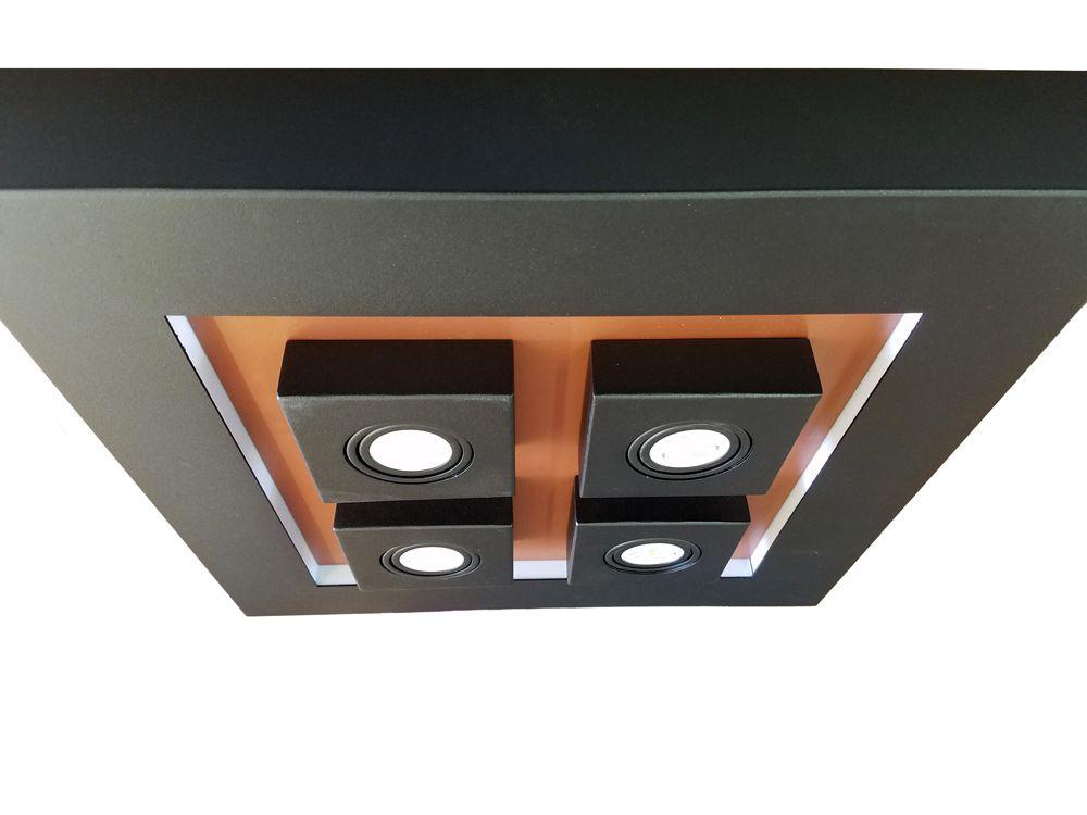Plafon Luz Indireta Sobrepor Preto/Cobre 8E27 + 4GU10 50X50CM 4110PT Piuluce
